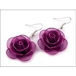 Romantické fialové náušnice Růže