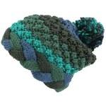 Pletená čepice Desigual Tricolor zelenomodrá