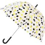 Plastový deštník Lindy Lou s černo-žlutými puntíky