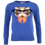 Modrý svetr s kočkou intelektuálkou Louche