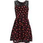 Černé šaty s krajkou v retro stylu s červenými jahůdkami Trollied Dolly