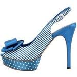 Modré boty na podpatku PACO MENA Caley v pin-up stylu