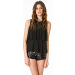 Tally Weijl Black Embellished Tier Swing Top
