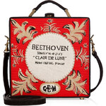 Olympia Le-Tan Handcrafted Beethoven Satchel in Red