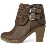 Tmavě hnědé boty na podpatku s kožíškem a přezkami Refresh