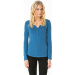 Tally Weijl Blue Buttoned Roll-Up Sleeve Top