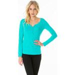 Tally Weijl Green Buttoned Roll-Up Sleeve Top