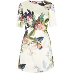 Topshop Blur Rose Print Satin A-Line Dress