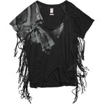 Replay Low-cut viscose jersey T-shirt with front print, side fringe.
