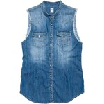 Replay Sleeveless shirt in light comfort denim with Korean collar, raw-edge shoulder borders plus two breast flap pockets.