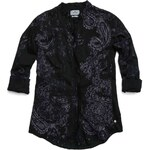 Replay Cotton muslin print shirt with ruche trim.
