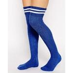 ASOS 2 Stripe Over The Knee Socks - Blue