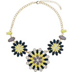 Topshop Green And Yellow Flowers Necklace