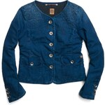 Replay Little wide-neck denim jacket with embroidery design.