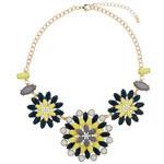 Topshop Halskette mit grünen und gelben Blumenelementen