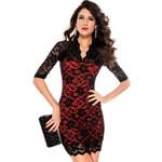 Červené šaty s černou krajkou