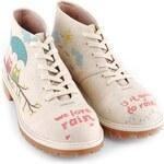 Dámské krémové kotníkové boty se sovičkami Dogo