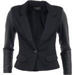 Černé sako s rukávy z umělé kůže AX Paris