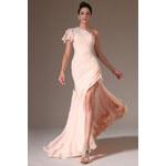 MiaBella Asymetrické plesové šaty s vlečkou Barva: jako na obrázku, Velikost: XS = konfekční velikost 34