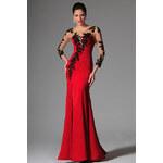 MiaBella Červené plesové šaty zdobené krajkou jako na obrázku, XS = konfekční velikost 34