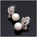 Náušnice s perličkou a stříbrným motýlkem