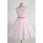 MiaBella SUSAN retro šaty bílé s červeným puntíkem Barva: Barva jako na obrázku, Velikost: 38