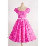 MiaBella LORETTA retro šaty růžové s puntíkem Barva: Barva jako na obrázku, Velikost: 38