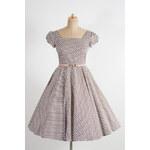 MiaBella LORETTA hnědé retro šaty se vzorem kytiček Barva: Barva jako na obrázku, Velikost: 38