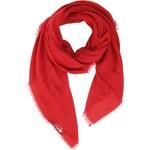 Červený šátek INVUU London s drobnými třásněmi