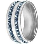 Široký modrý dvouřadý prsten Tribal