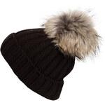 HEADLESS Rippstrick-Mütze mit Fellbommel schwarz