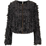 Topshop Mottled Textured Ruffle Jacket