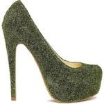 Sugarfree Shoes Sugarfree Siri Green Metallic Platform Court Shoes - Green