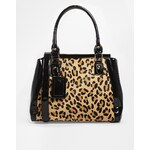 Dune Structured Bag With Leopard Panel - Black