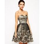 Chi Chi London Premium Bandeau Prom Dress with 3D Floral Applique Detail - Black