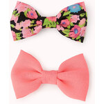 FOREVER21 Vibrant Floral Bow Hair Clip Set