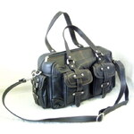 Arwel černá kožená zipová kabelka s venkovními kapsami