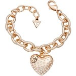 Guess Glossy Hearts Pave Heart Rose Gold Plated Bracelet