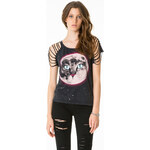 "Tally Weijl Black ""Galactic Cat"" Open Sleeve Top"