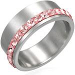Neuvedena Prsten z chirurgické oceli s růžovými kamínky Swarovski