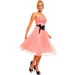 Mayaadi Deluxe Růžové večerní šaty s černým páskem
