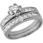 Silvego Stříbrný prsten dvojitý se Swarovski Zirconia 56 mm