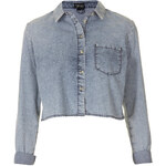 Topshop MOTO Acid Crop Denim Shirt