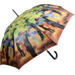 """Doppler Dámský holový vystřelovací deštník ART Klimt """"Dáma v zeleném kabátu"""" 74058D"""