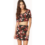 FOREVER21 Pixelated Floral Crop Top