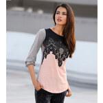 Venca Tričko s krajkovým potiskem růžová