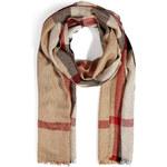 Burberry London Silk-Cashmere Half Mega Check Scarf in Camel Check
