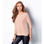 Venca Třpytivý pulovr se 3/4 rukávy růžová