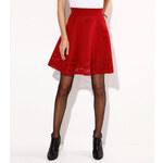 Venca Široká sukně s ažurovým lemem granátová