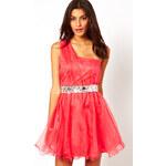 Lipsy VIP Organza One Shoulder Dress with Jewel Waistband